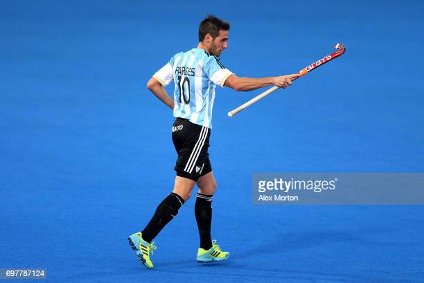 Matias Paredes of Argentina celebrates after scoring his team's fourth goal during the Pool A match between Argentina and China on day five of Hero...