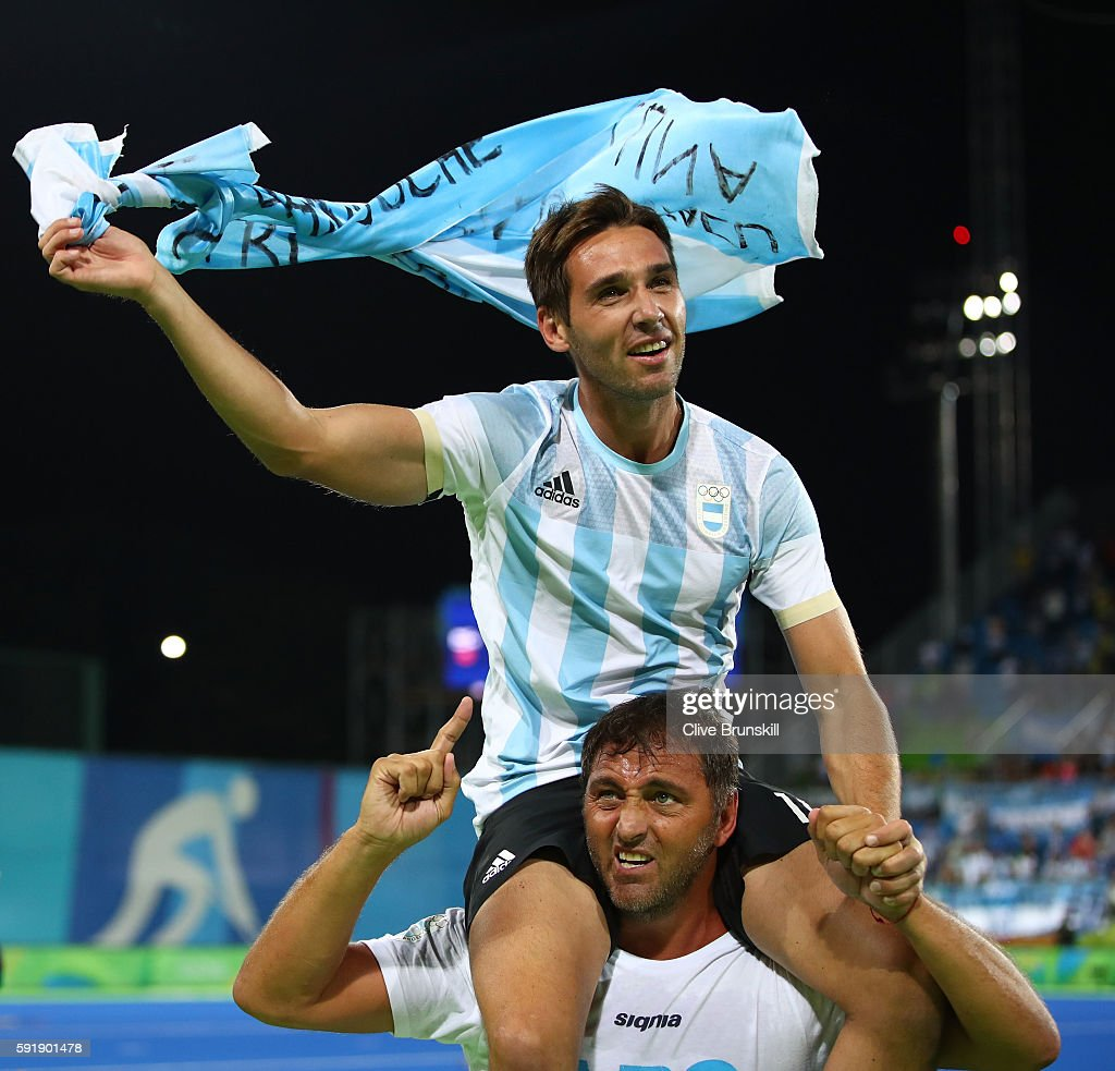 Matias Paredes of Argentina celebrates winning the Men's Hockey Gold Medal match between Belgium and Argentina on Day 13 of the Rio 2016 Olympic...