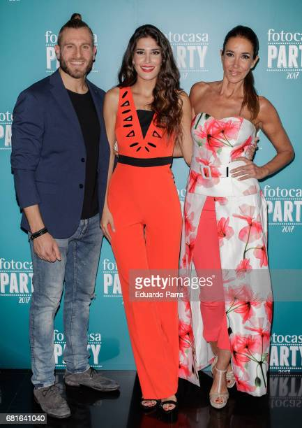 Matias Roure Lidia Torrent and Elsa Anka attend the 'Fotocasa party' photocall at Opium disco on May 10 2017 in Madrid Spain