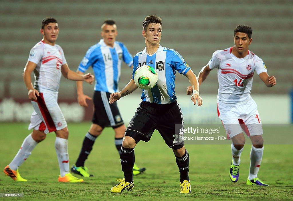 Matias Sanchez of Argentina during the FIFA U-17 World Cup UAE 2013 round of 16 match between Argentina and Tunisia at the Rashid Stadium on October 29, 2013 in Dubai, United Arab Emirates.