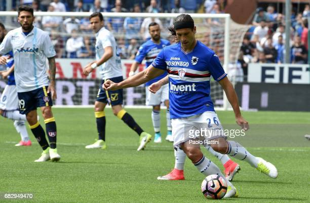 Matias Silvestre in action during the Serie A match between UC Sampdoria and AC ChievoVerona at Stadio Luigi Ferraris on May 14 2017 in Genoa Italy
