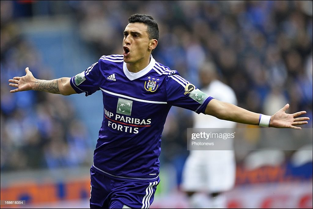 Matias Suarez of RSC Anderlecht celebrates scoring 0-1 during the Jupiler League play-off 1 match between KRC Genk and RSC Anderlecht on May 12, 2013 in the Cristal Arena in Genk, Belgium.
