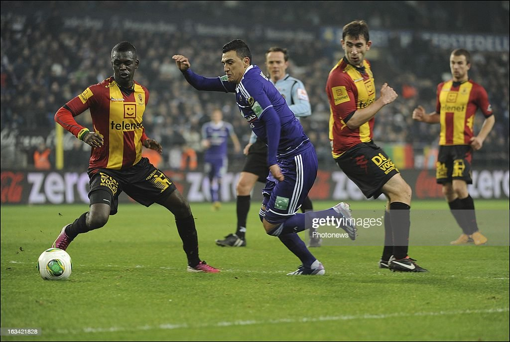 Matias Suarez of RSC Anderlecht in action during the Jupiler League match between RSC Anderlecht and KV Mechelen on March 9 , 2013 in Anderlecht , Belgium.
