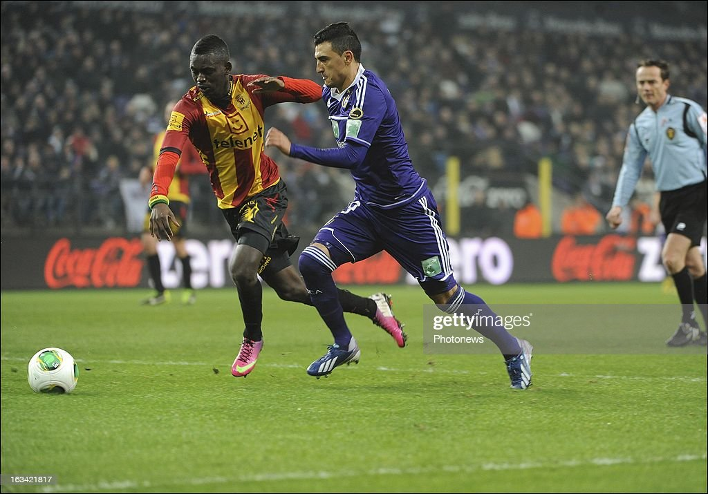 Matias Suarez of RSC Anderlecht pictured in action during the Jupiler League match between RSC Anderlecht and KV Mechelen on March 9 , 2013 in Anderlecht , Belgium.
