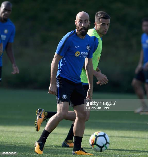Matias Vecino and Borja Valero of FC Internazionale compete for the ball during a training session at Suning Training Center at Appiano Gentile on...