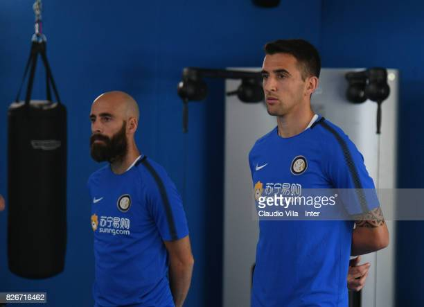 Matias Vecino and Borja Valero of FC Internazionale look on during a training session at Suning Training Center at Appiano Gentile on August 3 2017...
