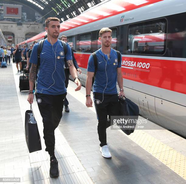 Matias Vecino and Cristian Ansaldi of FC Internazionale Milano depart by train from Milan to Rome on August 25 2017 in Milan Italy