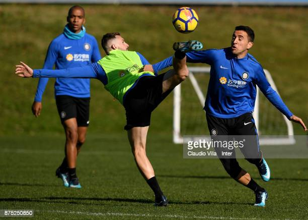 Matias Vecino and Marcelo Brozovic of FC Internazionale compete for the ball during the FC Internazionale training session at Suning Training Center...