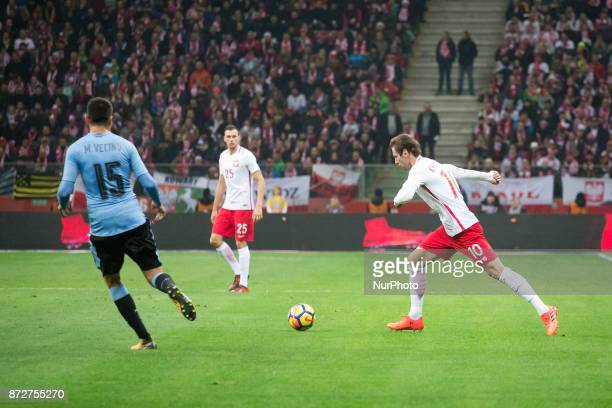 Matias Vecino Jaroslaw Jach and Grzegorz Krychowiak during the international friendly soccer match between Poland and Uruguay at the PGE National...