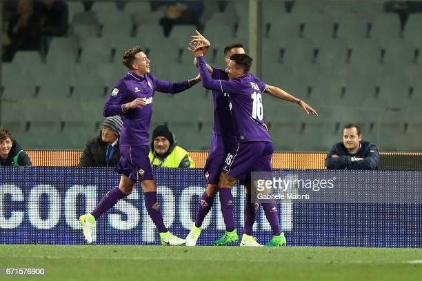Matias Vecino of ACF Fiorentina celebrates after scoring a goal during the Serie A match between ACF Fiorentina v FC Internazionale at Stadio Artemio...