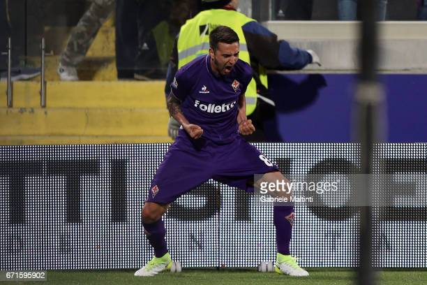 Matias Vecino of ACF Fiorentina celebrates after scoring a goal during the Serie A match between ACF Fiorentina v FC Internazionale at Stadio Artemio...
