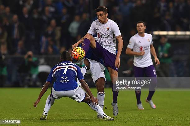 Matias Vecino of ACF Fiorentina in action against Lucas Martins Fernando of UC Sampdoria during the Serie A match between UC Sampdoria and ACF...
