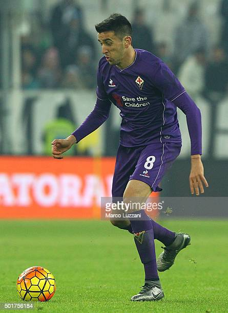 Matias Vecino of ACF Fiorentina in action during the Serie A match betweeen Juventus FC and ACF Fiorentina at Juventus Arena on December 13 2015 in...