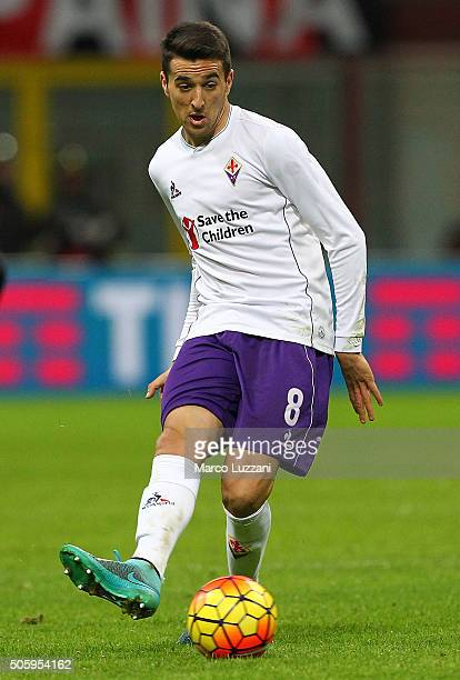 Matias Vecino of ACF Fiorentina in action during the Serie A match between AC Milan and ACF Fiorentina at Stadio Giuseppe Meazza on January 17 2016...