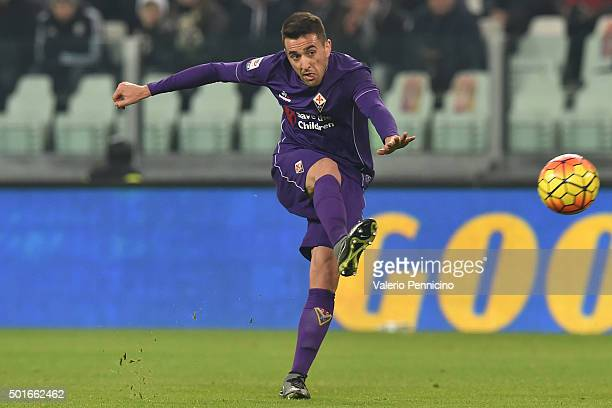 Matias Vecino of ACF Fiorentina kicks the ball during the Serie A match betweeen Juventus FC and ACF Fiorentina at Juventus Arena on December 13 2015...