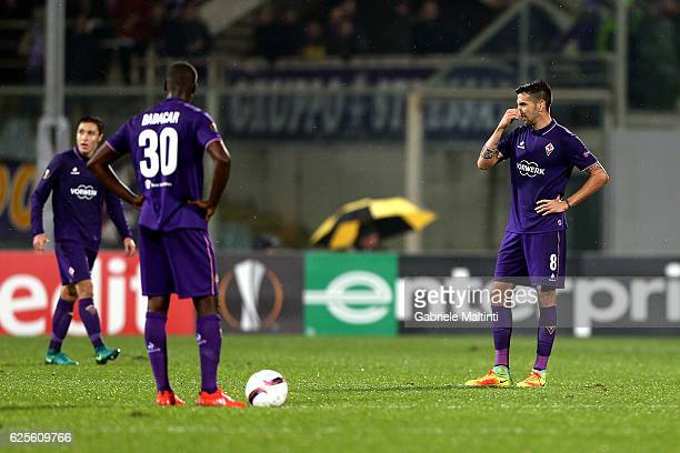 Matias Vecino of ACF Fiorentina shows his dejection during the UEFA Europa League match between ACF Fiorentina and PAOK FC at Stadio Artemio Franchi...