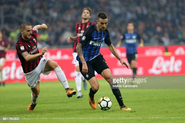 Matias Vecino of FC Internazionale and Leonardo Bonucci of AC Milan in action during the Serie A match between FC Internazionale and AC Milan Fc...