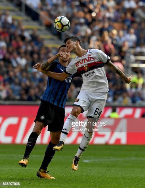Matias Vecino of FC Internazionale and Pietro Pellegri of Genoa CFC compete for the ball during the Serie A match between FC Internazionale and Genoa...