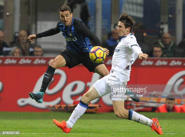 Matias Vecino of FC Internazionale competes for the ball with Andrea Masiello of Atalanta BC during the Serie A match between FC Internazionale and...