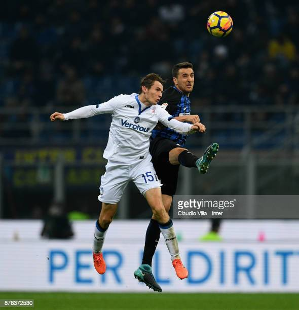 Matias Vecino of FC Internazionale competes for the ball with Marten De Roon of Atalanta BC during the Serie A match between FC Internazionale and...