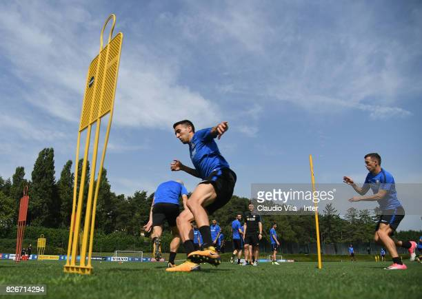 Matias Vecino of FC Internazionale in action during a training session at Suning Training Center at Appiano Gentile on August 3 2017 in Como Italy