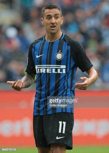 Matias Vecino of FC Internazionale Milano gestures during the Serie A match between FC Internazionale and Spal at Stadio Giuseppe Meazza on September...