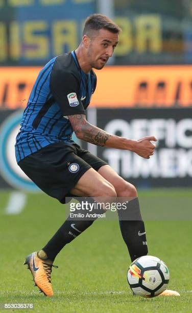 Matias Vecino of FC Internazionale Milano in action during the Serie A match between FC Internazionale and Genoa CFC at Stadio Giuseppe Meazza on...