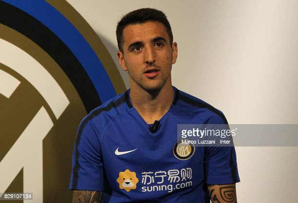 Matias Vecino of FC Internazionale speaks to the media at the club's training ground Suning Training Center in memory of Angelo Moratti on August 10...