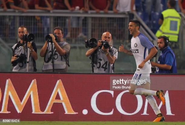 Matias Vecino of Internazionale celebrates after scoring the team's third goal during the Serie A match between AS Roma and FC Internazionale on...
