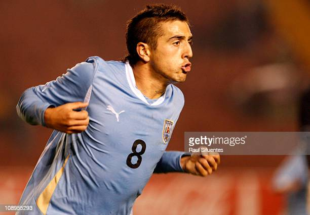 Matias Vecino of Uruguay celebrates a scored goal during a match against Argentina as part of the South American Under 20 Championship on February 9...