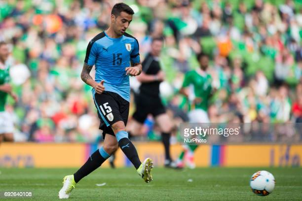Matias Vecino of Uruguay kicks the ball during the International Friendly match between Republic of Ireland and Uruguay at Aviva Stadium in Dublin...