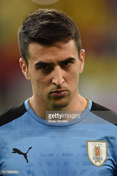 Matias Vecino of Uruguay looks on during a match between Brazil and Uruguay as part of 2018 FIFA World Cup Russia Qualifiers at Arena Pernanbuco on...