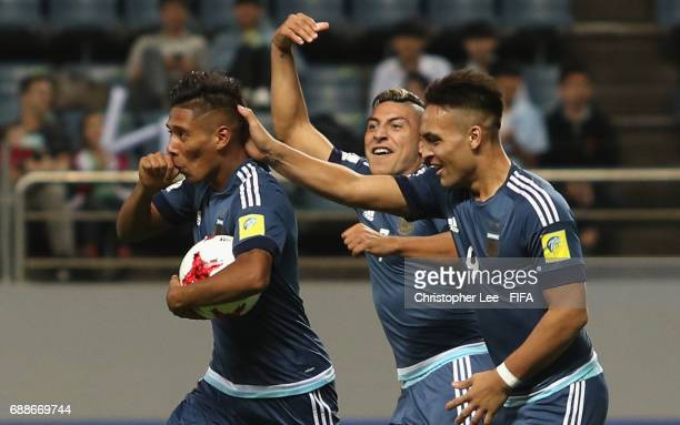 Matias Zaracho of Argentina celebrates scoring their third goal during the FIFA U20 World Cup Korea Republic 2017 group A match between Guinea and...