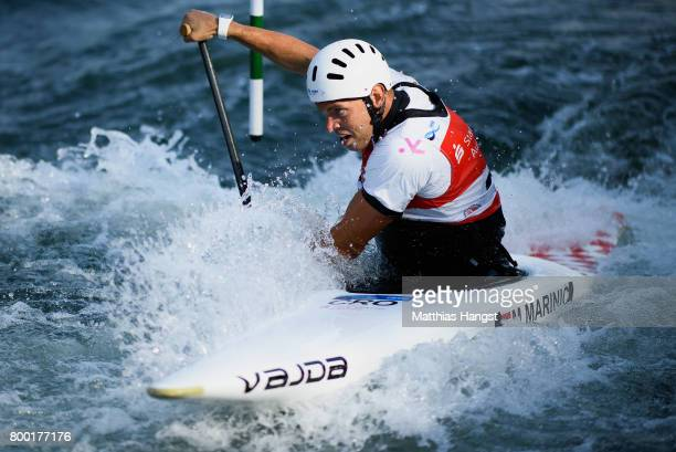 Matija Marinic of Croatia competes during the Canoe Single Men's Qualification of the ICF Canoe Slalom World Cup on June 23 2017 in Augsburg Germany