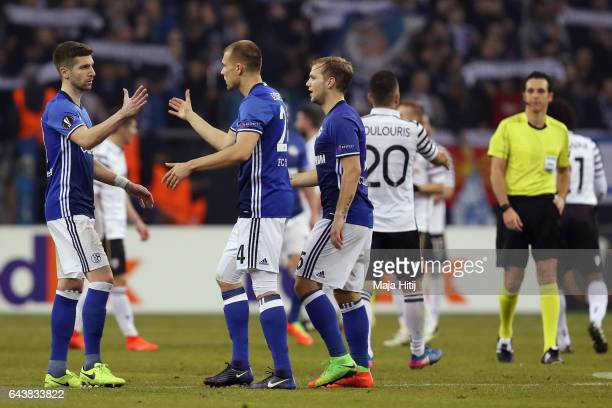 Matija Nastasic Holger Badstuber and Johannes Geis of Schalke react after the UEFA Europa League Round of 32 second leg match between FC Schalke 04...