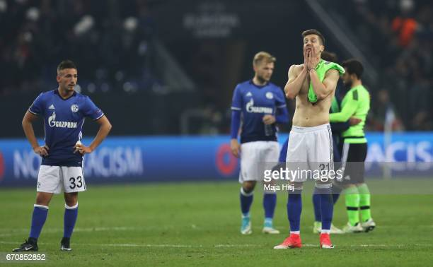 Matija Nastasic of FC Schalke 04 and team mates look dejected after the UEFA Europa League quarter final second leg match between FC Schalke 04 and...