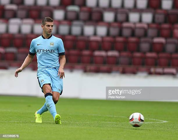 Matija Nastasic of Manchester City in action during the Pre Season Friendly match between Hearts and Manchester City at Tyncastle Stadium on July 18...