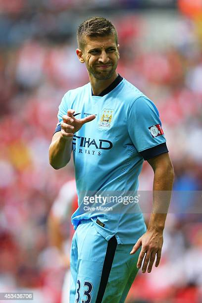 Matija Nastasic of Manchester City reacts during the FA Community Shield match between Manchester City and Arsenal at Wembley Stadium on August 10...