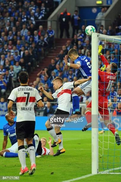Matija Nastasic of Schalke and RonRobert Zieler of Stuttgart battle for the ball during the Bundesliga match between FC Schalke 04 and VfB Stuttgart...