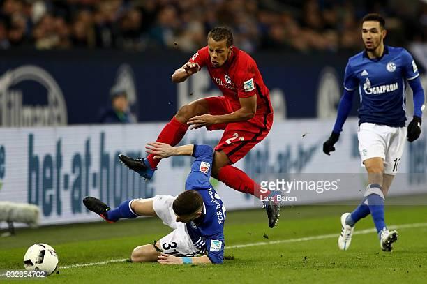 Matija Nastasic of Schalke and Tim Chandler of Frankfurt battle for the ball during the Bundesliga match between FC Schalke 04 and Eintracht...