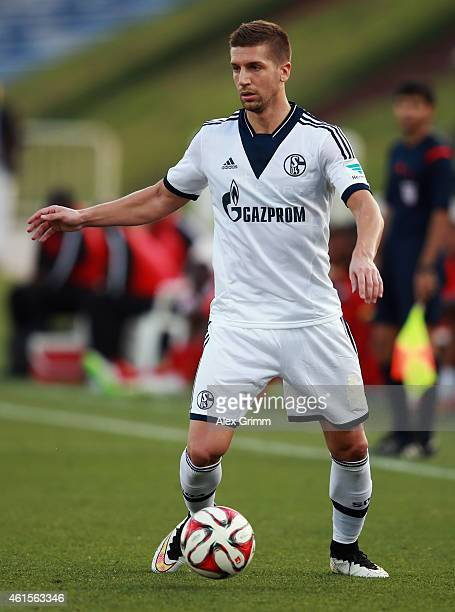 Matija Nastasic of Schalke controles the ball during a friendly match between FC Schalke 04 and AlMerrikh SC at ASPIRE Academy for Sports Excellence...