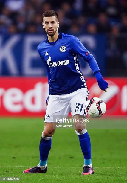 Matija Nastasic of Schalke controles the ball during the UEFA Europa League Group I match between FC Schalke 04 and FC Krasnodar VeltinsArena on...