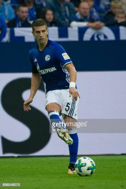 Matija Nastasic of Schalke controls the ball during the Bundesliga match between FC Schalke 04 and RB Leipzig at VeltinsArena on August 19 2017 in...