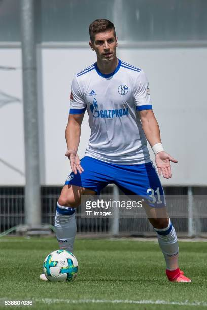 Matija Nastasic of Schalke controls the ball during the preseason friendly match between SC Paderborn and FC Schalke 04 at BentelerArena on July 15...