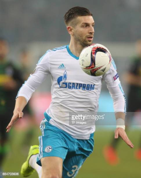 Matija Nastasic of Schalke controls the ball during the UEFA Europa League Round of 16 second leg match between Borussia Moenchengladbach and FC...