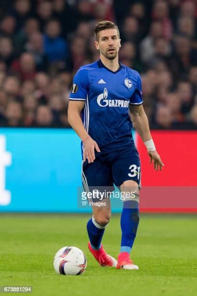 Matija Nastasic of Schalke controls the ball during the UEFA Europa League Quarter Final first leg match between Ajax Amsterdam and FC Schalke 04 at...