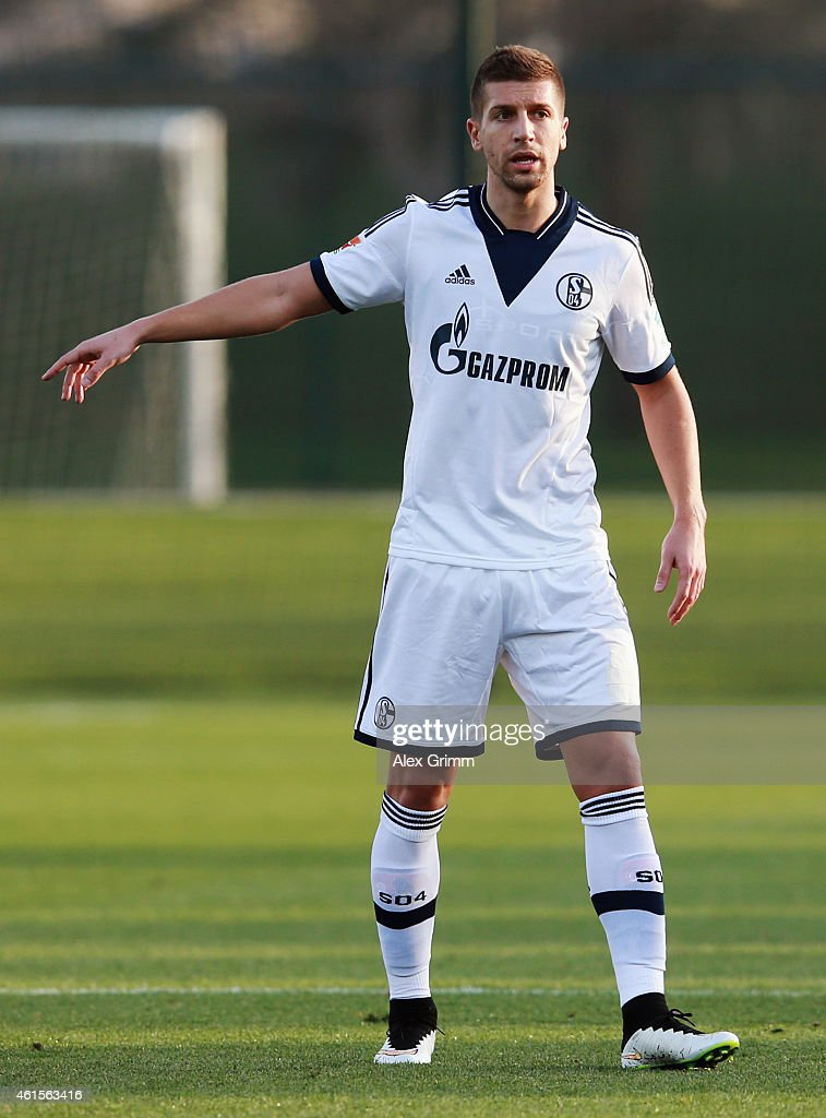 Matija Nastasic of Schalke gestures during a friendly match between FC Schalke 04 and Al-Merrikh SC at ASPIRE Academy for Sports Excellence on January 15, 2015 in Doha, Qatar. on January 15, 2015 in Doha, Qatar.