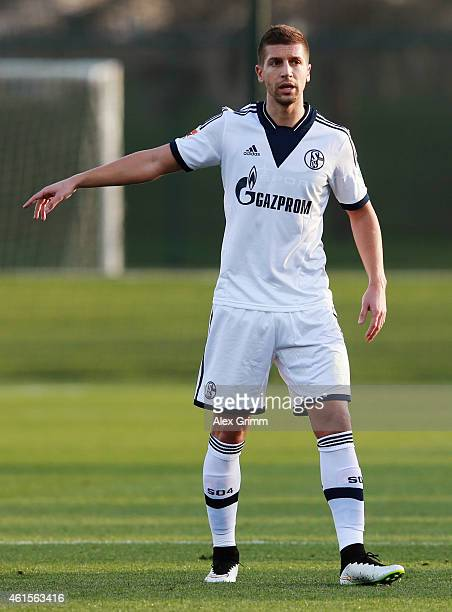 Matija Nastasic of Schalke gestures during a friendly match between FC Schalke 04 and AlMerrikh SC at ASPIRE Academy for Sports Excellence on January...