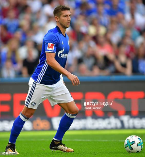 Matija Nastasic of Schalke in action during the Bundesliga match between Hannover 96 and FC Schalke 04 at HDIArena on August 27 2017 in Hanover...