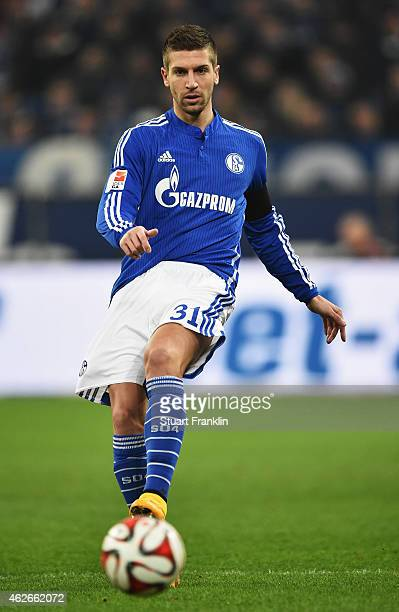 Matija Nastasic of Schalke in action during the Bundesliga match between FC Schalke 04 and Hannover 96 at Veltins Arena on January 31 2015 in...